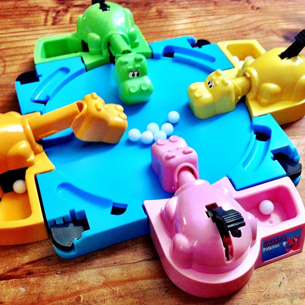 A blast from my past. Playing Hungry Hungry Hippos with the kid.