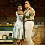Zabryna Guevara as Pilar and Will LeBow as Orfeo in the Huntington Theatre Company's world premiere production of Sonia Flew by Melinda Lopez, at the Calderwood Pavilion at the BCA. Part of the 2004-2005 season. Photo: T. Charles Erickson