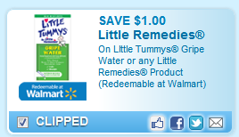 Little Remedies- Little Tummys Gripe Water Or Little Remedies Product (redeemable At Walmart) Coupon