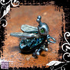 Pendant Silver Dichroic Glass Bug Peridot Eyes 02