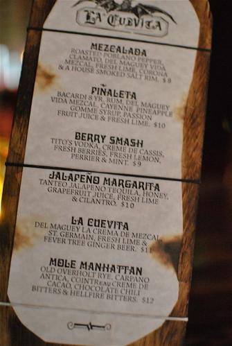 la cuevita drink menu