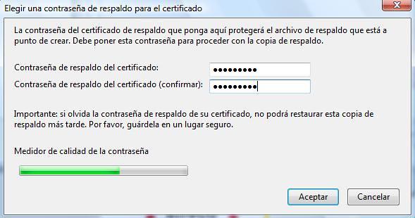 Clave para proteger el fichero .p12