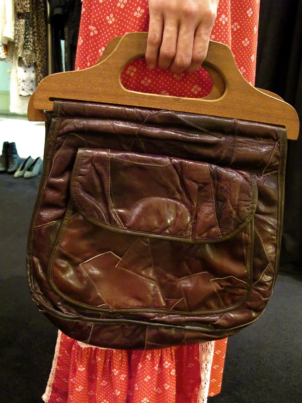 1970s faux leather patchwork bag with wooden handle
