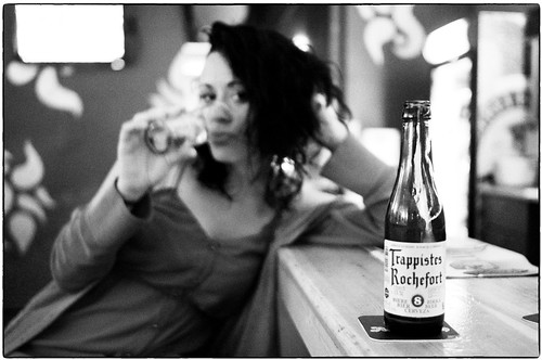 girl and beer bottle