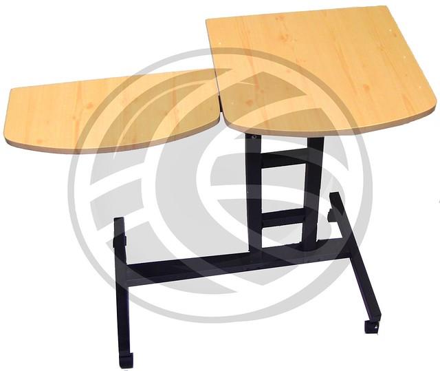 Mesa para port til y rat n con ruedas de pino blanco - Mesa para ordenador con ruedas ...