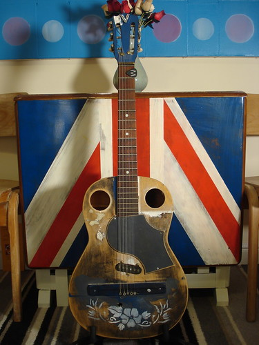 Modified Electrified Acoustic Guitar And Boss Mg 10 Amplifier