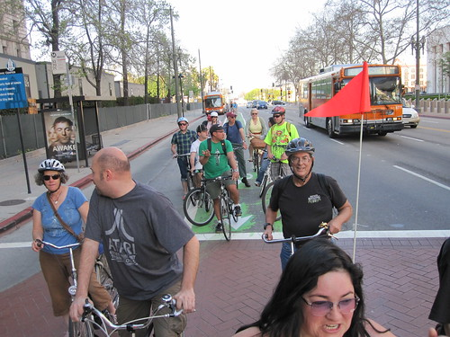 Flying Pigeon LA brewery ride on Spring Street bike lane