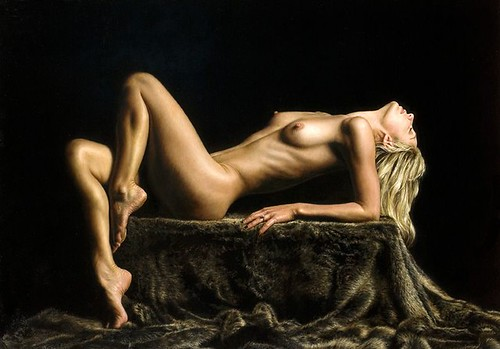 "'Reclining Model' oil on board 22"" x 36"""