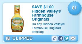 Hidden Valley Farmhouse Originals Dressing Coupon