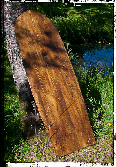 My first attempt at a solid wood bodyboard, from pine.