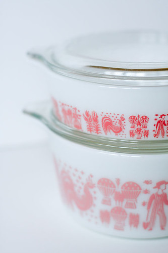 Pink Butterprint Pyrex by jenib320