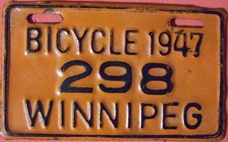 WINNIPEG MANITOBA 1947 ---BICYCLE PLATE