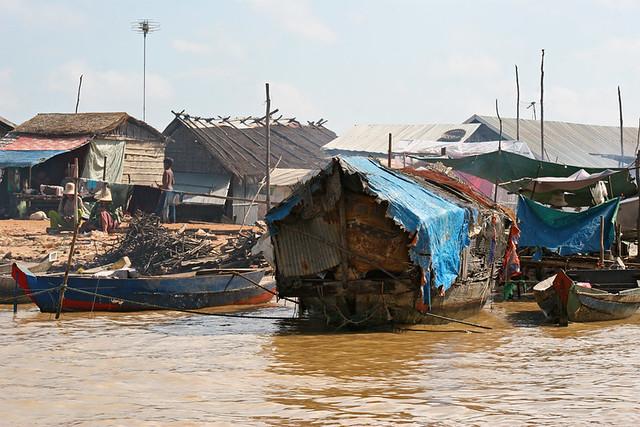 Floating village at Tonle Sap Lake in Cambodia.