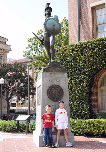 The kids and Tommy Trojan