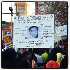 """This is bigger than profiling."" - sign at the #trayvonmartin protest at #baltimore city hall."