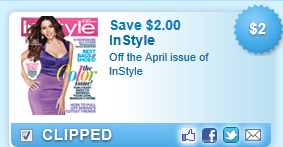 Instyle Magazine, April Issue Coupon
