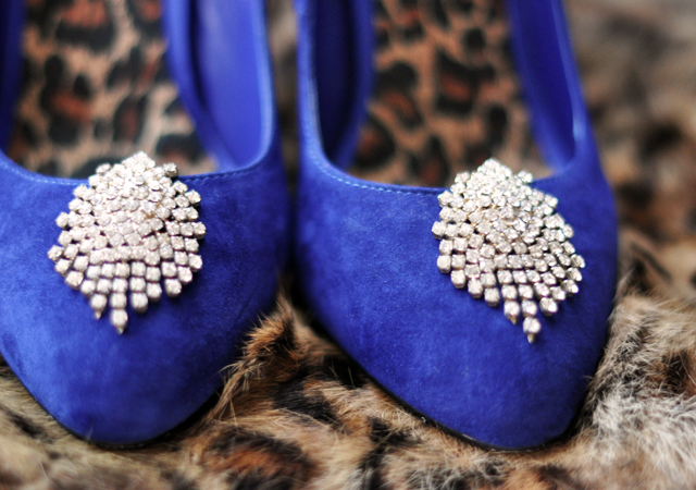 blue suede shoes  with rhinestone shoe clips