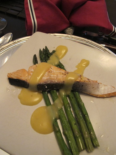 Paul's salmon, asparagus and choc sauce