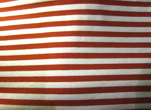 Red and white striped cotton spandex knit