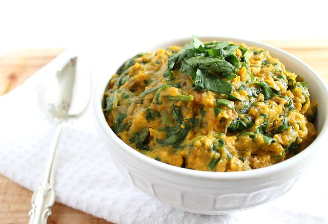 Spinach and goat cheese mashed sweet potatoes