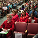 Many women wore red supporting 'Women Education/Women Empowerment' at the USDA
