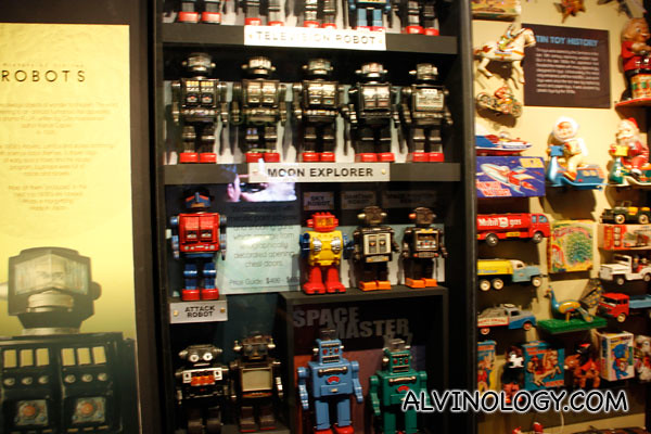 Collection of tin robots and tin toys
