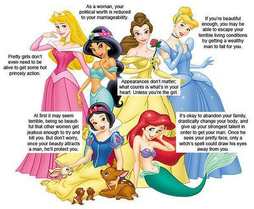 A picture of several disney princesses with captions that describe their anti-feminist plotlines