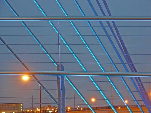 blue lit cables