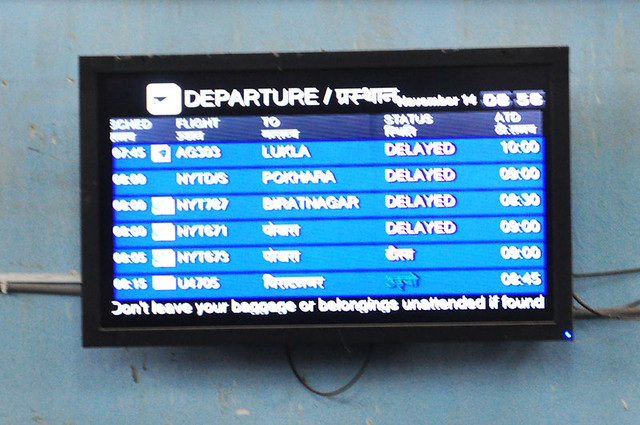 Flights delayed and eventually cancelled, Kathmandu Airport, Nepal