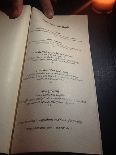 Molecular Cocktails BarChef Menu