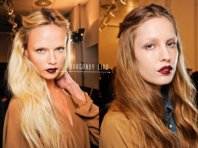 BURGUNDY LIPS GUCCI FALL 2012 RTW BACKSTAGE