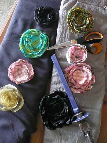 Vintage-style fabric flowers with hand-burned edges