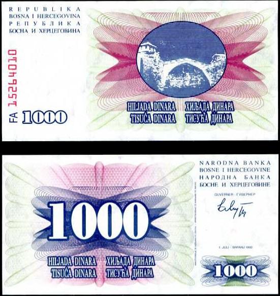 1000 Dinara Bosna Hercegovina 1992, Pick 15