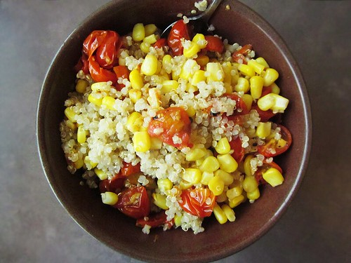 roasted tomatoes with quinoa & corn