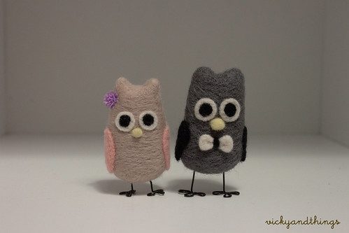Needle felted wedding toppers