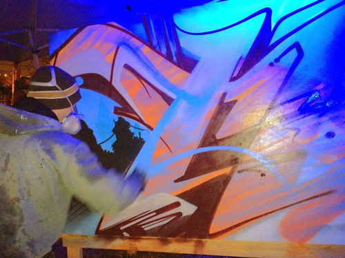 #Sloke painting at the #Trover #SXSW #graffiti party. Continues thru Monday