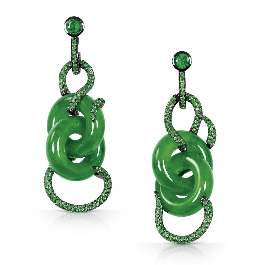 Pair Of Jadeite Double-Hoop, Diamond And Emerald Pendent Earrings, Solange.jpg