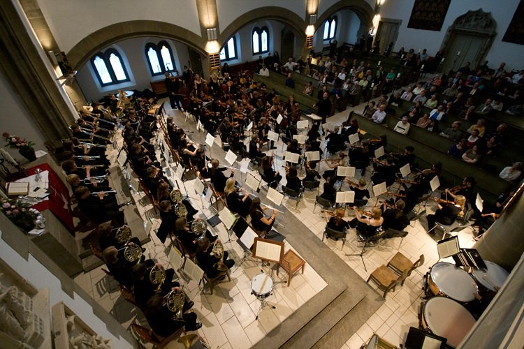 Santa Rosa Symphony Youth Orchestra performs a joint concert with the Potsdam Youth Orchestra in the Grunewaldkirche in Berlin
