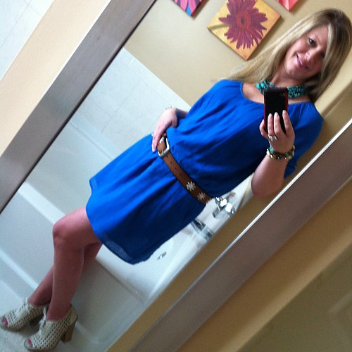 Thursday's ootd: Oh hai Summer!  Dress - J. Crew, sandals - Hinge, new from Nordstrom, jewelry - Charming Charlie and Target, embellished leather belt - new from Target and an absolute little treasure!