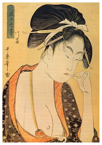015-Mujer joven con los pechos desnudos-Mitad del siglo XVIII-Kitagawa Utamaro-Fuente Zeno Org