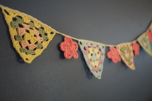 Granny Bunting with flowers