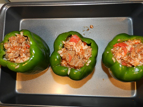 stuffing green peppers