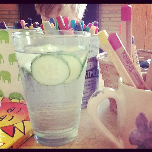 Cucumber water and coloring