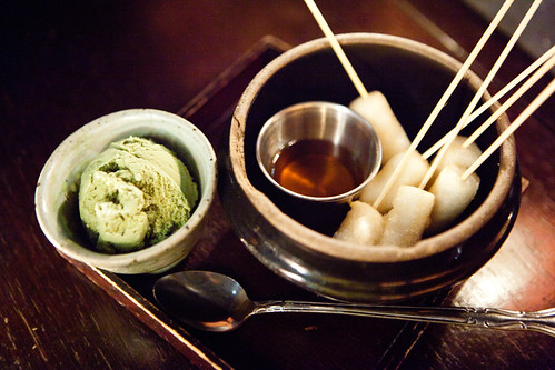 Roasted rice cake sticks with green tea ice cream