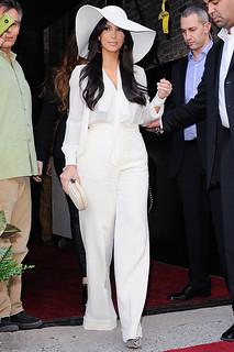 Kim Kardashian White Trousers Celebrity Style Women's Fashion