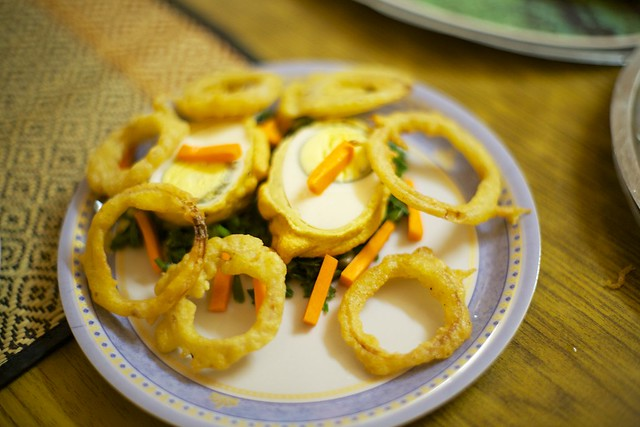 Jyothi's fried egg and onion ring starter