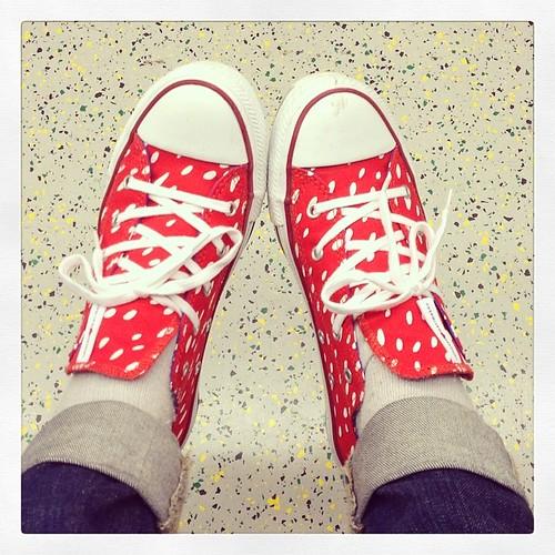 今日からmarimekko x converse 中はブルーのドットめちゃかわいいです‼︎ オススメ! #conversemarrimekko #marrimekko #converse #red ##cute #sneaker #shoes #マリメッコ #スニーカー #靴 #かわいい