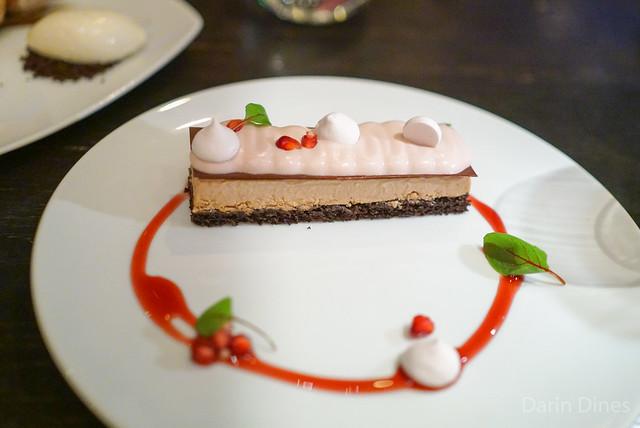 CHOCOLATE POMEGRANATE CAKE milk chocolate mousse & blood orange meringue