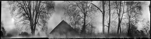 pinhole obscura stenope analogue paper 6x24 kodak polymax d76 coffeecan can cylindrical nescafe wide wideangle 360 360degreeatmospheric atmosphere landscape nature building architecture old trees tree branches countryside šinkūnai tauragnai utena lithuania sky bw blackandwhite anamorph anamorphic film papernegative nostalgic inexplore