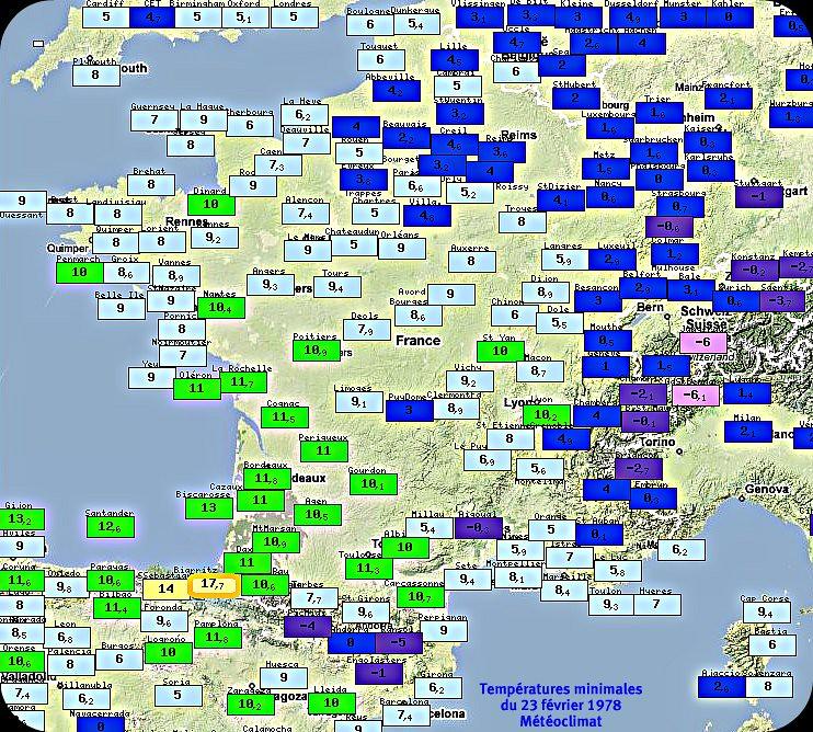 températures minimales du 23 février 1978 météopassion